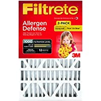 Filtrete MPR 1000 16 x 25 x 4 (4-3/8 Actual Depth) Micro Allergen Defense Deep Pleat HVAC Air Filter, Attracts Small Particles like Pollen & Pet Dander, Guaranteed Airflow up to 12 months, 2-Pack