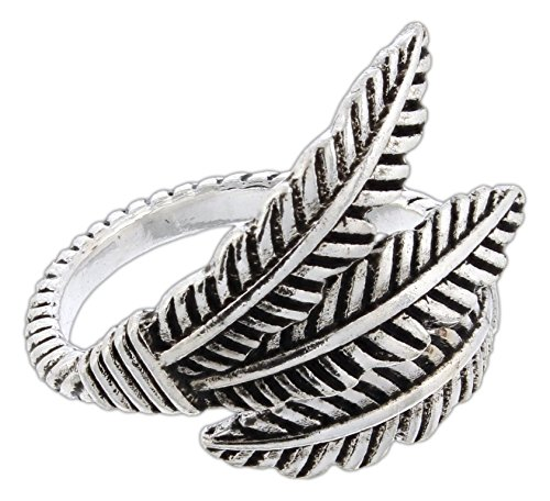 (RAIN Oxidized Silver-Tone Feathers Bypass Ring)