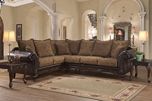 San Mar Traditional Style Classic Wooden Frame Sectional Sofa