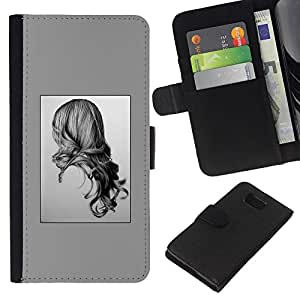 KLONGSHOP // Tirón de la caja Cartera de cuero con ranuras para tarjetas - Dibujo de lápiz Art Girl pelo largo Retrato - Samsung ALPHA G850 //