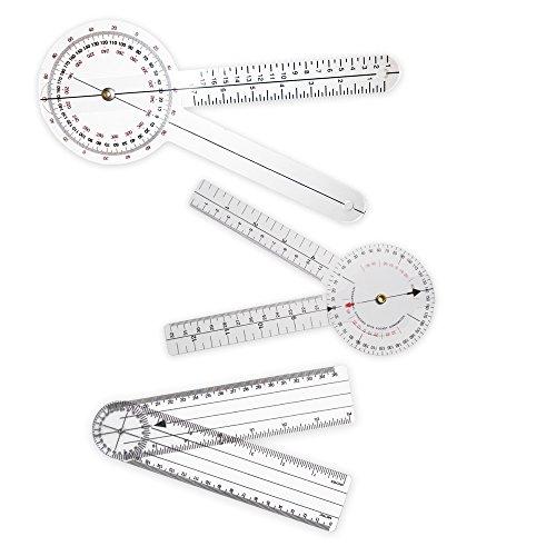 """Rehabilitation Advantage 3 Piece Goniometer Set - 12"""" & 8"""" 360-Degree, 8"""" - 360 Piece Set"""
