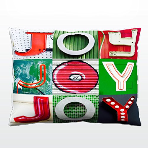 Holiday Christmas Pillow featuring the word JOY in photos of red & green sign letters