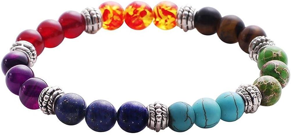 Sonew Lava Perl/é Bracelet 7 Chakras /Élastique Corde Pierre Naturelle Yoga Perles Bracelets Bracelet pour Hommes Femmes