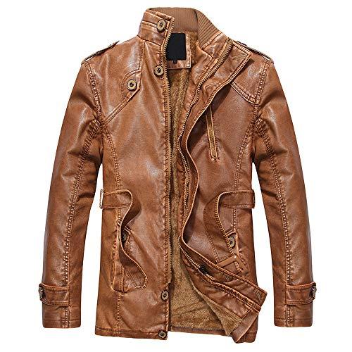 Amazon.com: Veepola Mens Fashion Collar Wool Coat PU ...