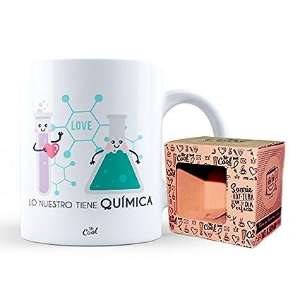 Mr Cool Taza en Caja Regalo en Mensaje Lo Nuestro Tiene Quimica, Cerámica, 15x10x5