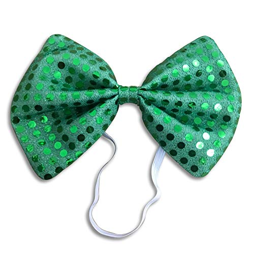 Irish St. Patricks Day Bowknot Bow Tie Fun Costume Party Accessory Green Sequin Bow Tie (1 pcs) -