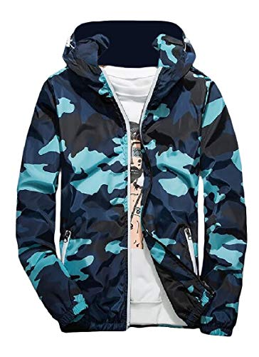 Jacket Camo with Blue Hood Runnung Fashional Zips RkBaoye Men's Military Activewear zq6wBnUg