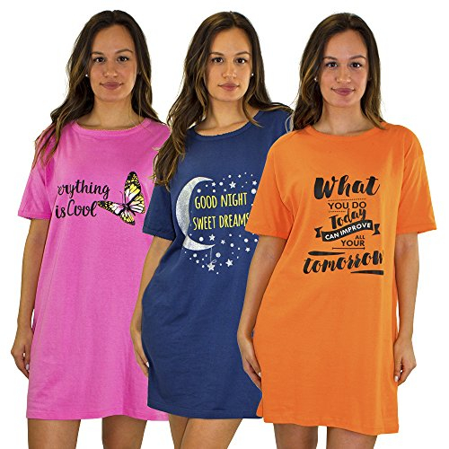 Real Essentials 3 Pack:Cotton Short Sleeve Nightshirt/Nightgown,Orange What You Do Today,Blue Moon,Pink Butterfly-Set 1 - XXL De La Renta Women Mini