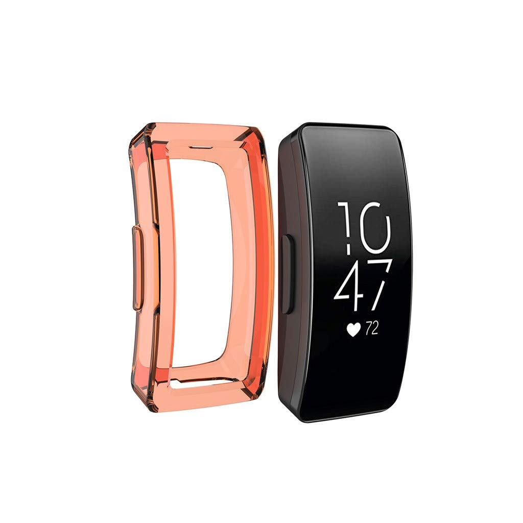 Compatible for Fitbit Inspire Case and Fitbit Inspire HR Case, Tuscom Ultra Slim TPU Protective Smartwatch Case Cover Shell Anti Scratch Guard Bumper Case for Fitbit Inspire/Inspire HR (Orange)