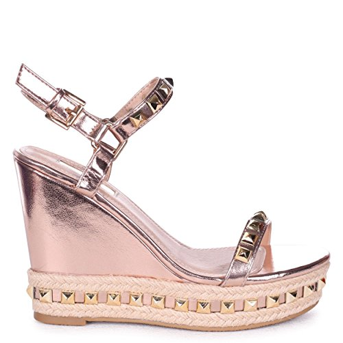 Linzi Madonna - Rose Gold Metallic Wedge with Studded Detail & Rope Trim Rosegold 162eeDqeoM