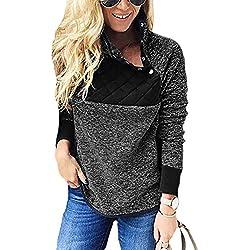 PRETTYGARDEN Women's Warm Long Sleeves Oblique Button Neck Splice Geometric Pattern Fleece Pullover Coat Sweatshirts Outwear (Black, Medium)