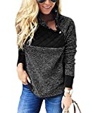PRETTYGARDEN Women's Warm Long Sleeves Oblique Button Neck Splice Geometric Pattern Fleece Pullover Coat Sweatshirts Outwear (Black, Medium)