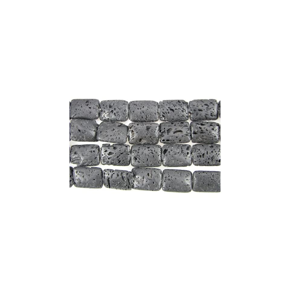 25mm volcano lava rectangle pendant beads 4pcs