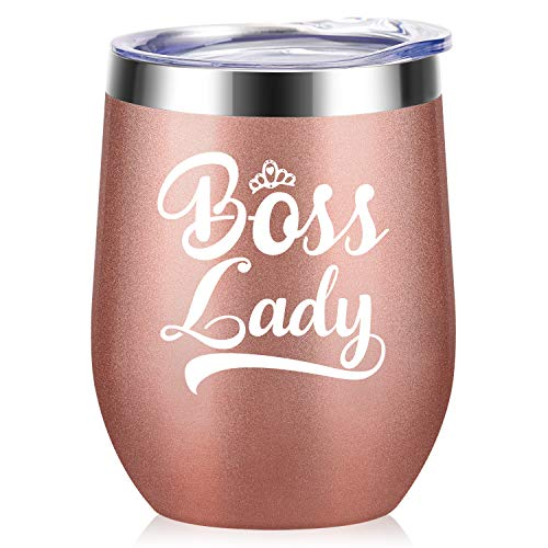Boss Lady- Best Christmas Birthday Gifts for Women Boss Mom Unique Long Distance Friendship Gifts for Her,Insulated Wine Tumbler with Lid and Straw Wine Cups for Wedding 12oz Gold