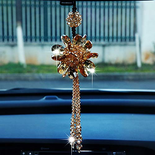 Car Rear View Mirror Pendant Crystal hanging Ornament Fashion Car Accessories Bling Colorful Mirror Pendant Lucky Crystal Auto Interior Decoration (Champagne gold)