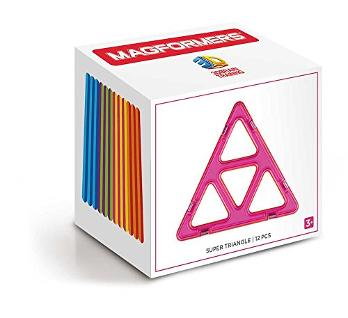 Magformers Super Triangle 12 Pieces Rainbow Colors, Educational Magnetic Geometric Shapes Tiles Building STEM Toy Set Ages 3+