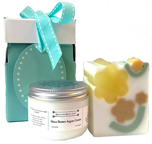 Giftwrapped Shea Butter Argan Hand Care Gift Set with Handmade Soap in Honeysuckle Arbor fragrance and Unscented Shea Butter Argan Cream
