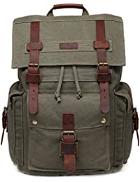 0b38500e5b5b77 Canvas Laptop Backpack Unisex Vintage Leather School Business Travel Hiking  Daypack Computers Casual Outdoor Rucksack