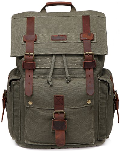 Canvas Laptop Backpack Unisex Vintage Leather School Business Travel Hiking Daypack Computers Casual Outdoor Rucksack Army green