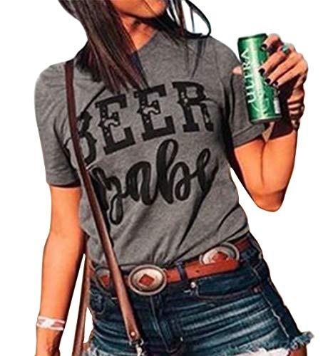 Beer Babe T Shirt Women Letters Shirt Short Sleeve with Funny Saying Casual Tee Tops Size M (Gray)