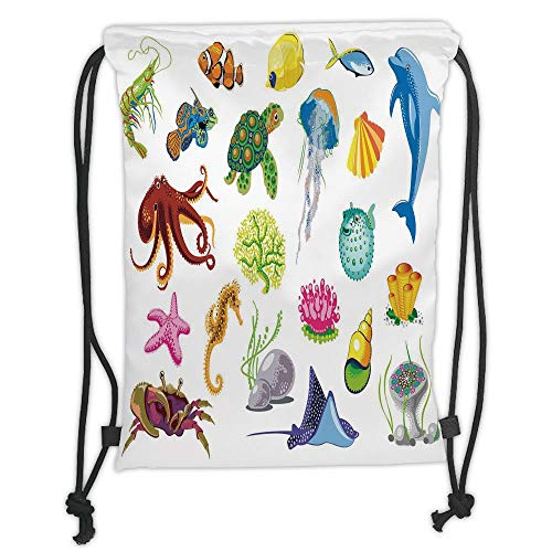 Custom Printed Drawstring Sack Backpacks Bags,Marine,Sea Animals Octopus Dolphin Shells Stingray Crab Turtle Jellyfish Wildlife Graphic,Multicolor Soft Satin,5 Liter Capacity,Adjustable String Closure
