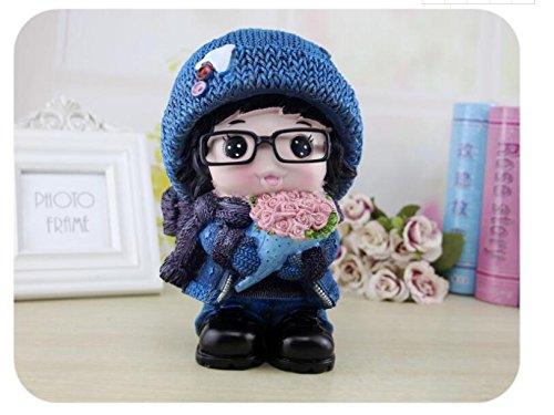 Goodscene Cartoon Piggy Bank Winter Clothes Girl Piggy Bank Large Capacity Resin Ornaments (Large Blue Hat) by Goodscene