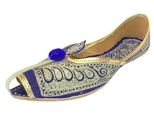 Stap N Stijl Flats Trouwschoenen Khussa Schoenen Mojari Casual Schoenen Punjabi Jutti Maat Blauw