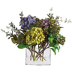 Nearly Natural 4670 Hydrangea with Rectangle Vase Silk Flower Arrangement, Mixed 15