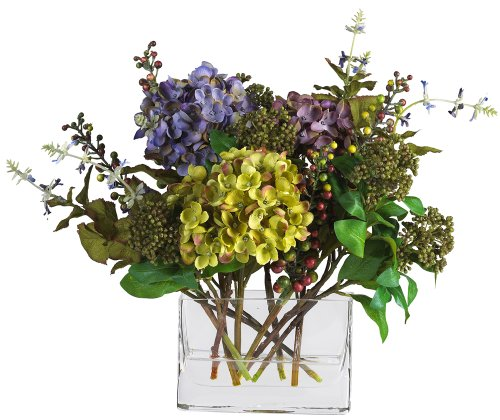 Nearly Natural 4670 Hydrangea with Rectangle Vase Silk Flower Arrangement, Mixed ()