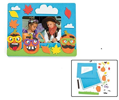 Foam Funny Face Pumpkin Picture Frame Magnet Craft Kit (Makes (Halloween Photo Frames Craft)