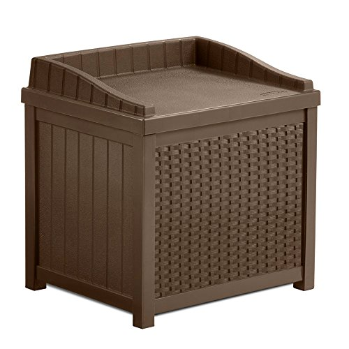 22 Gallon Storage Bench Seat & Garden Outdoor Box W/ Resin Decorative Woven Effect in Mocha Brown Color by Suncast