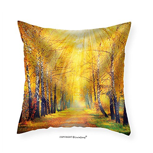 VROSELV Custom Cotton Linen Pillowcase Road Leading to Gold Trees in the Forest - Fabric Home Decor - To Quilt Oklahoma Road