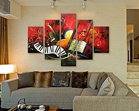 Amazon.com: Hand-painted Artwork the Music Score High Q. Wall Art ...