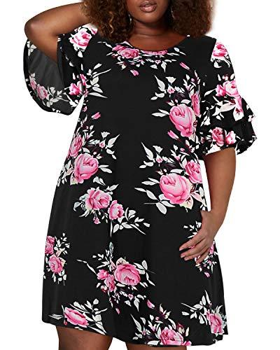 - Nemidor Women's Ruffle Sleeve Jersey Knit Plus Size Casual Swing Dress with Pocket (143+Black Print, 16W)