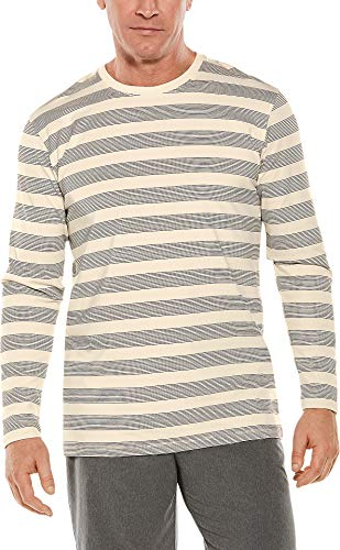 Cotton Sleeve Long Rugby - Coolibar UPF 50+ Men's Long Sleeve Everyday T-Shirt - Sun Protective (X-Large- Cream/Black Rugby Stripe)