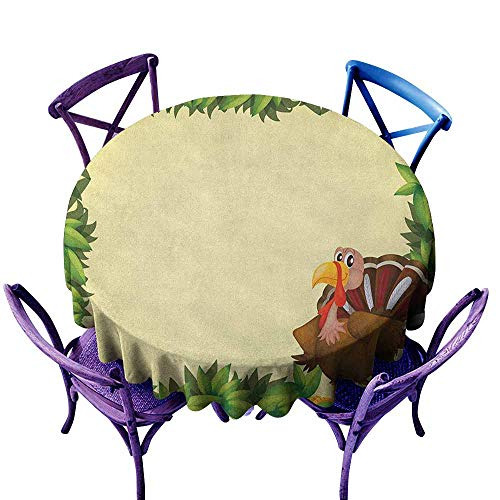 (Beihai1Sun Waterproof Table Cover,Kids Thanksgiving Turkey with Happy Expression Green Foliage Fresh Leaves,Party Decorations Table Cover Cloth,40 INCH Green Pale Yellow Brown)