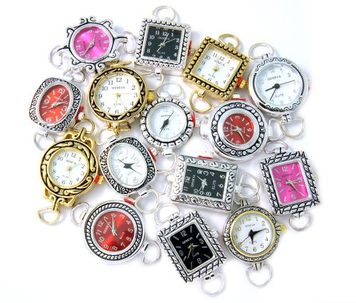 10 Pcs Assorted Beading Watch Faces. Each Lot May Include Silver, Pink, Red, Black, Gold, and Two Tone Watch Faces. Battery and Loops Included. Geneva Elite Brand. from Geneva