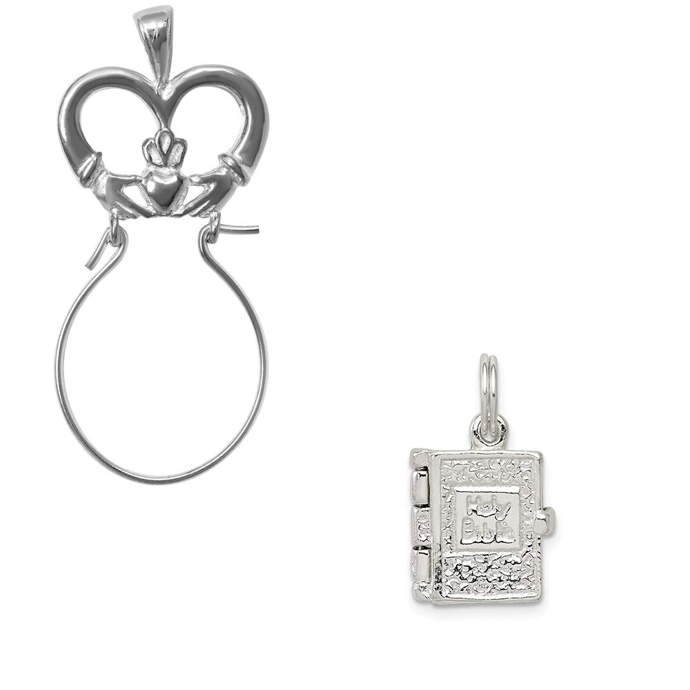 Mireval Sterling Silver Holy Bible Charm on an Optional Charm Holder