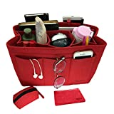 iNazoie Felt Handbag Organizer Insert Purse Organizer Bag Fits Speedy Neverfull 3 Color Medium Large X-Large (X-Large, Red)