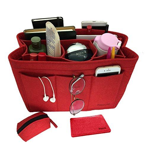 iNazoie Felt Handbag Organizer Insert Purse Organizer Bag Fits Speedy Neverfull 3 Color Medium Large X-Large (X-Large, Red) by iNazoie