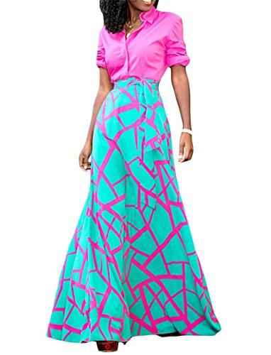 VIGVOG Women's Boho Pink Mint Scattered Crack Pull-on Maxi Flowy A-line Skirt (L, Pink)