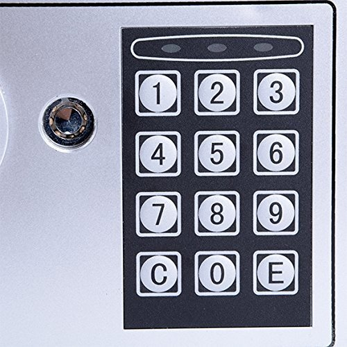 Tomasar Digital Security Safe Box Electronic Home Fireproof Lock Box Wall-Anchoring Design for Jewelry Cash Valuable (Black)