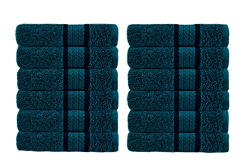 Cotton Craft - 12 Pack - Ultra Soft Extra Large Wash Cloths 12x12 Teal - 100% Pure Ringspun Cotton - Luxurious Rayon Trim - Ideal for Daily Use - Each Towel Weighs 2 Ounces