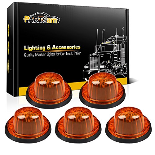 Partsam 5X Roof Running Cab Marker Light Amber Cover Lens/Base Compatible with Chevrolet/GMC C/K Series 1973 1974 1975 1976 1977 1978 1979 1980 1981 1982 1983 1984 1985 1986 1987 Pickup Truck