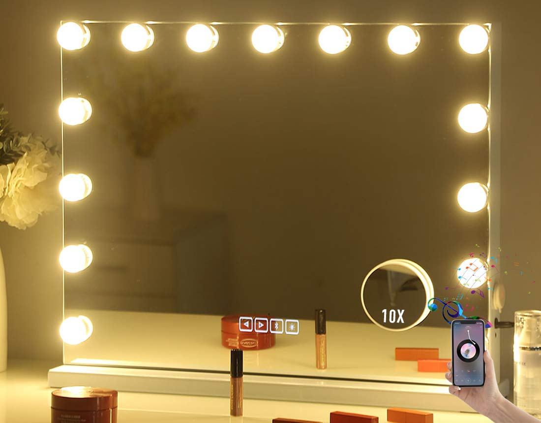 Large Vanity Makeup Mirror with Lights,Bluetooth Hollywood Lighted Dressing Tabletop Mirror or Wall Mounted Beauty Mirrors with 15 pcs Led Bulbs,Detachable 10X Magnification Spot Cosmetic Mirror