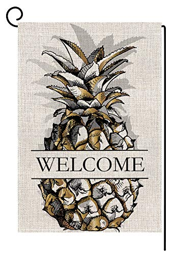(Welcome Golden Pineapple Summer Small Garden Flag Vertical Double Sided 12.5 x 18 Inch Burlap Yard Outdoor Decor)
