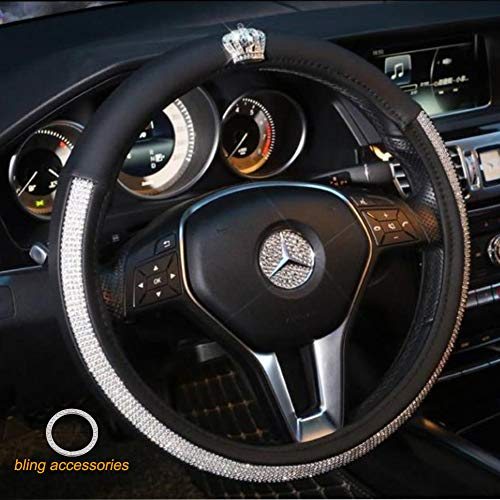 Alvaza Crystal Car Steering Wheel Cover Bling Bling Rhinestones Leather Crown Decro Not Slip Breathable Steering Covers Size 15 Inch + Free Bling Ring ()