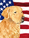 Caroline's Treasures SS4055CHF USA American Flag with Golden Retriever Flag Canvas, Large, Multicolor For Sale