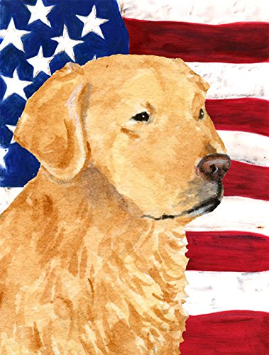 Caroline's Treasures SS4055CHF USA American Flag with Golden Retriever Flag Canvas, Large, Multicolor