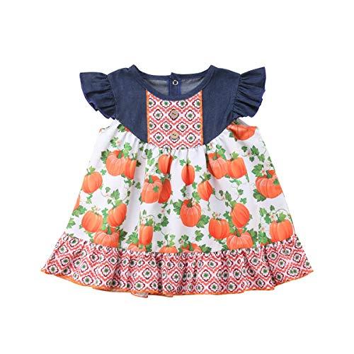 Halloween Pumpkin Print Toddler Kids Baby Girl Sleeveless Denim Patchwork A-line Dress Clothes Outfits 6M-5T (80(6-12M))]()